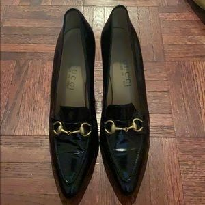 "Gucci rare ""cecilia "" horsebit leather heel"